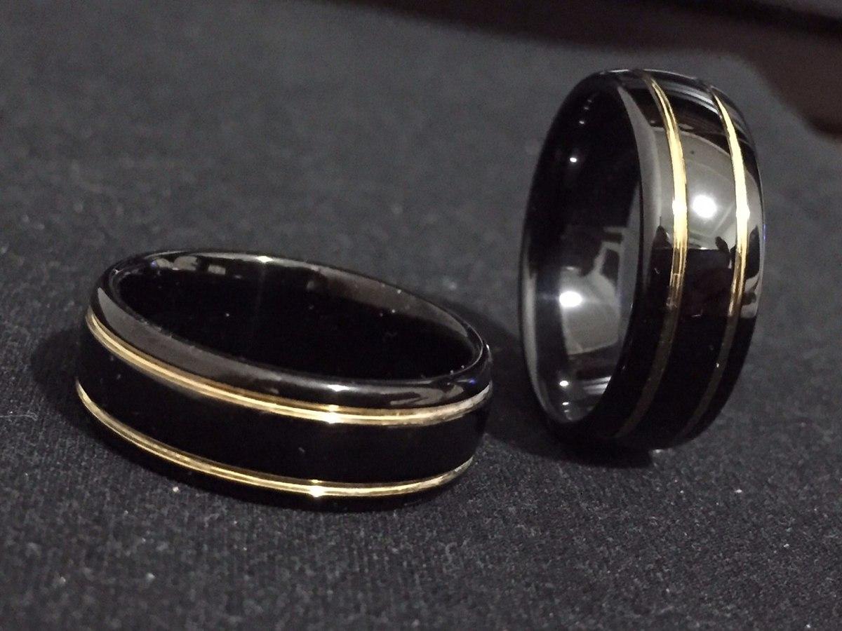 3b2fd215c aliança de tungstênio preta com fio de ouro 18k 8mm - avulsa. Carregando  zoom.