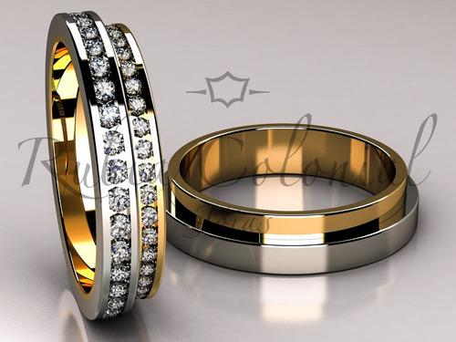 aliança em ouro 18k e diamantes. casamento,bodas de prata