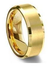 aliança noivado casamento tungstênio folheada ouro unidade
