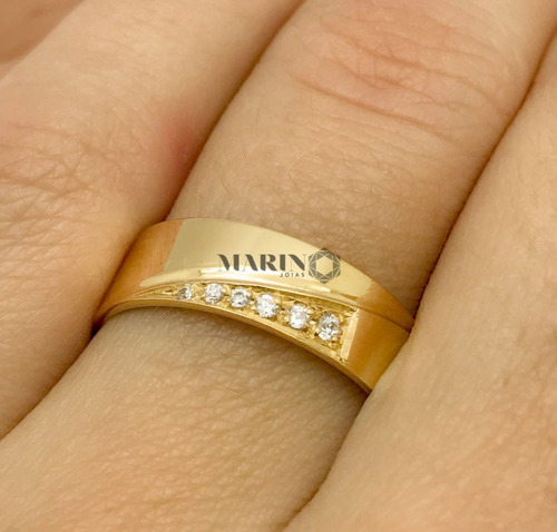 aliança ouro 18k 8 gramas 6mm brilhantes casamento noivado