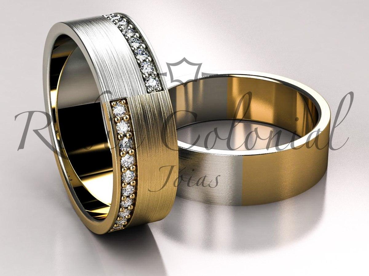 Aliança Ouro Amarelo E Ouro Branco,. Casamento - R  3.490,00 em ... e5c7996749