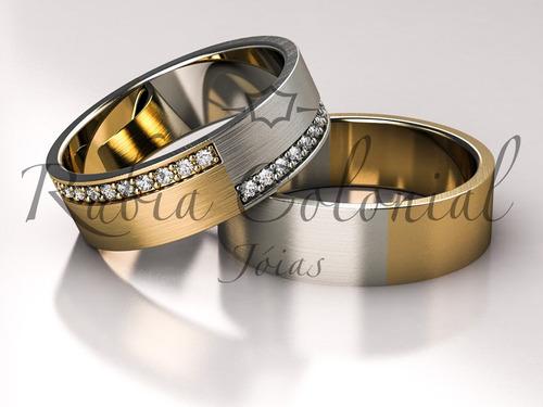 aliança ouro amarelo e ouro branco, casamento ou bodas