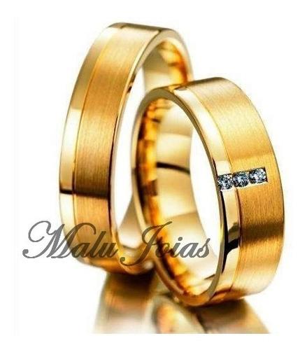 aliança para noivado banhada a ouro 18k 750