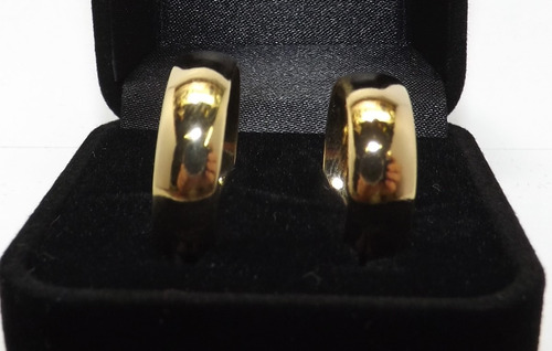 alianças 7mm anatômicas folheadas ouro 18k gravação caixinha