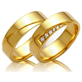 b434e22d9510a Alianças Ouro 18k 10 Gramas 6mm Brilhantes Casamento Noivado