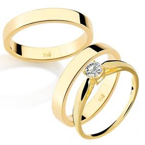 76ea331e1e5c0 Par De Aliança Com Anel Solitário Em Ouro 18k 750 Casamento
