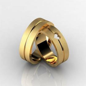 Alianças Banhadas A Ouro Fosca Com Furo De Coração 8 Milímet
