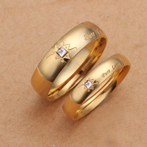 alianças banhado ouro 18k brilhante (par)
