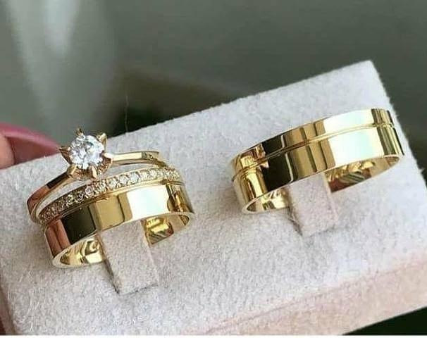 0912108e221 Par De Alianças Casamento Ouro 16k Linha Cr7 Promoção - R  850