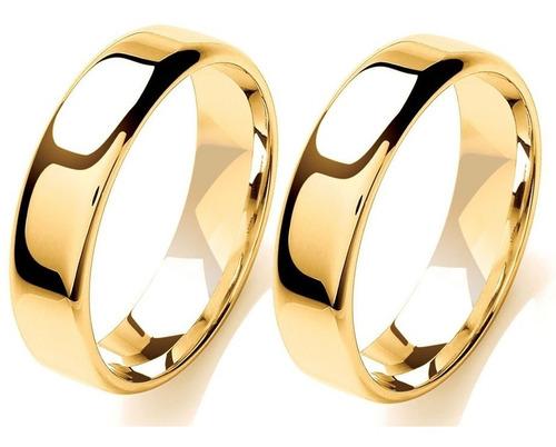 alianças de casamento em ouro 18k 8 gramas 5mm reta quadrada