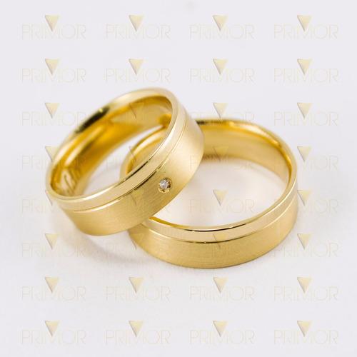 alianças de casamento em ouro diamante 2 pontos 10g al001