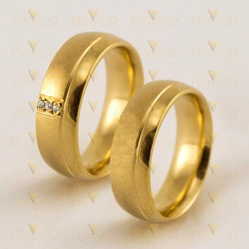 alianças de casamento em ouro fosco com 3 diamantes al008