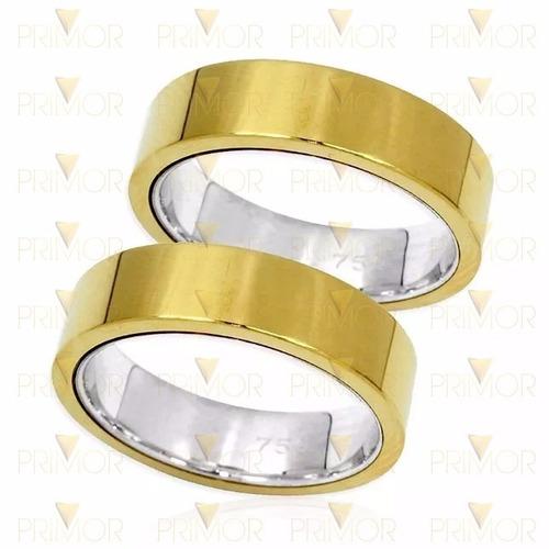 alianças de casamento em ouro retangular com 12g par al055