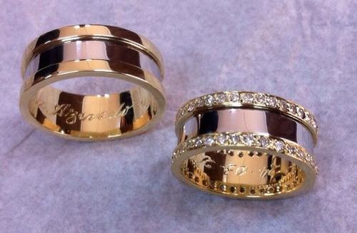 alianças de casamento ouro diamantes.