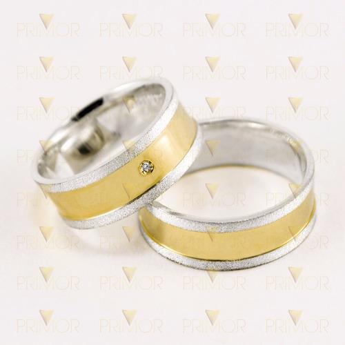 alianças de compromisso de prata com detalhe dourado pt019