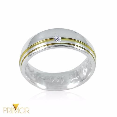 alianças de compromisso de prata dois frisos dourados pt020