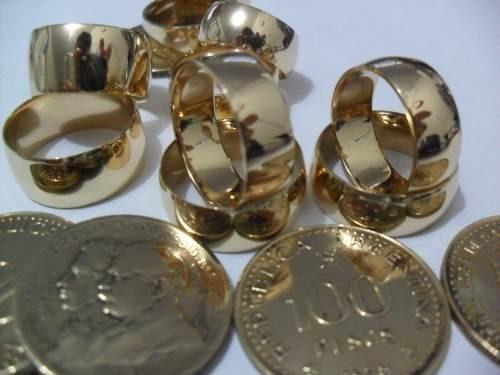 alianças de moedas com 10mm  20gr o par