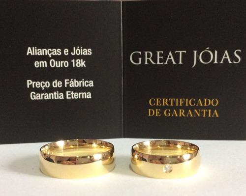 alianças de ouro 18k 6mm 10 gramas anatômicas - frete grátis
