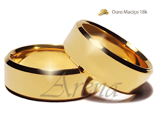 alianças de ouro 18k reta + gravação+garantia casamento