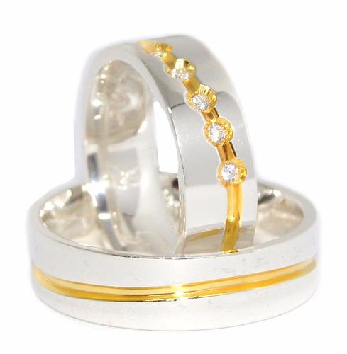 alianças de prata compromisso   namoro banho  ouro 18k (par)