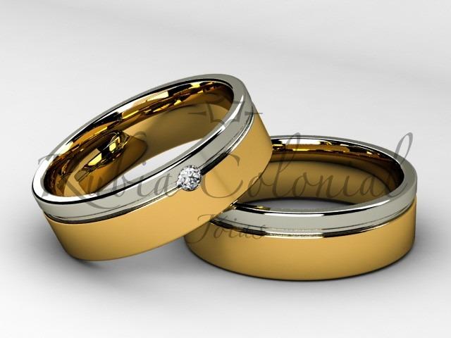 fe4ae9f377513 Alianças Em Ouro 18k . E Diamante 5 Pontos. Casamento
