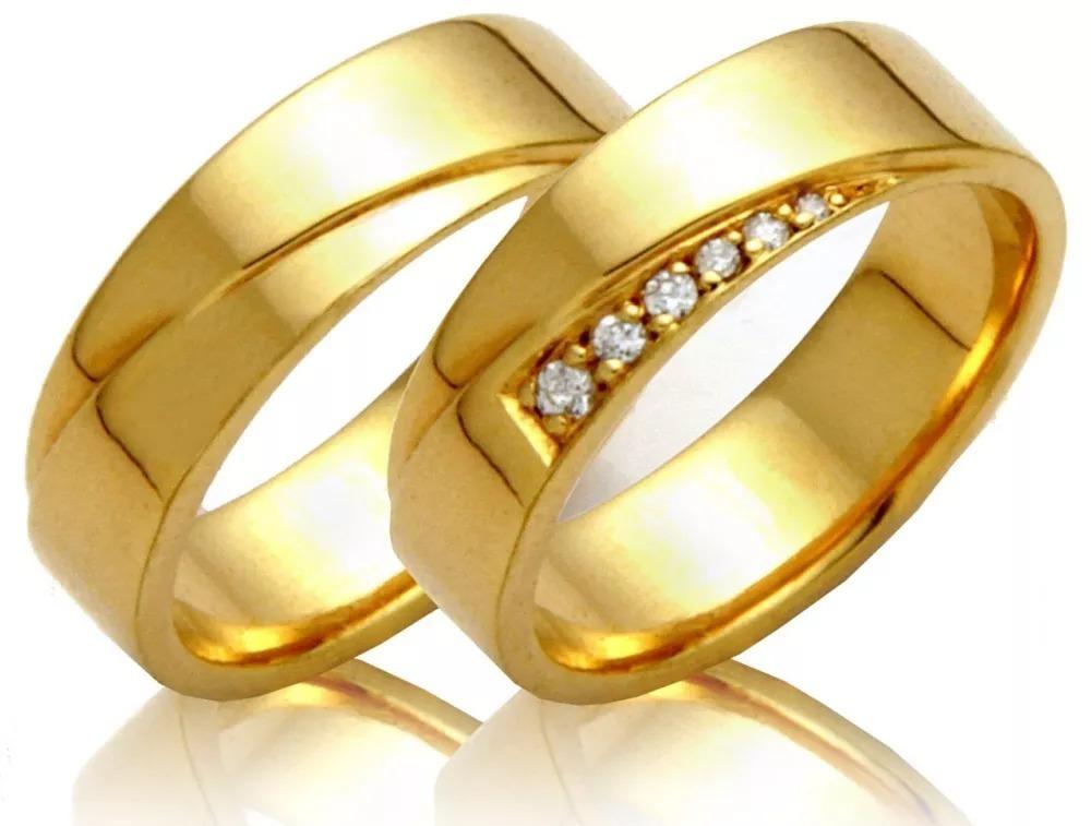 c8e39cd57478b alianças ouro 18k 10 gramas 6 mm diamante casamento noivado. Carregando  zoom.