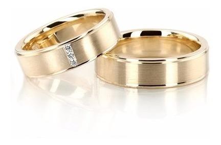 alianças ouro 18k 14gr 6mm reta maciça anatômica 3 diamantes