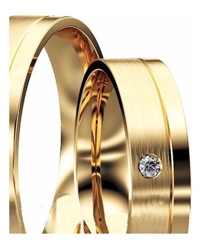 alianças ouro 18k - diamante modelo moderno 6mm casamento
