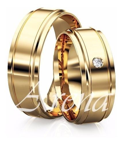 alianças sofisticadas ouro 18k com diamante 20 gramas o par