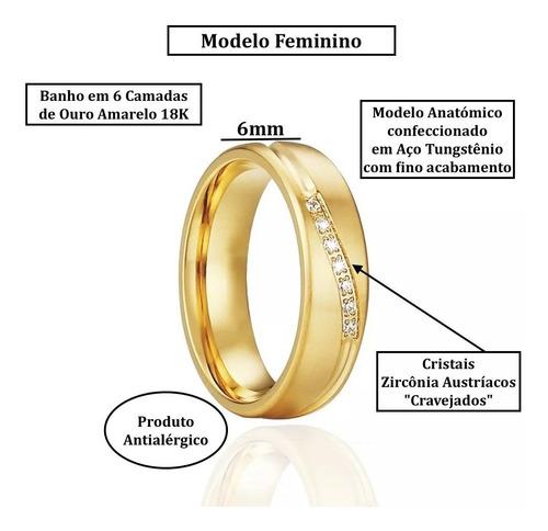alianças tungstênio banho ouro 18k noivado casamento compromisso antialérgico abaulado anatômico pedras zircônia