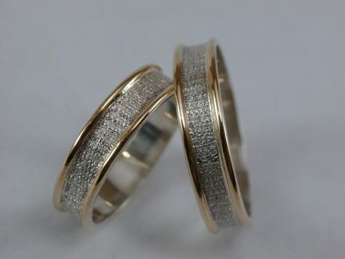 alianza de plata y oro 18k  estuche y grabado incluido