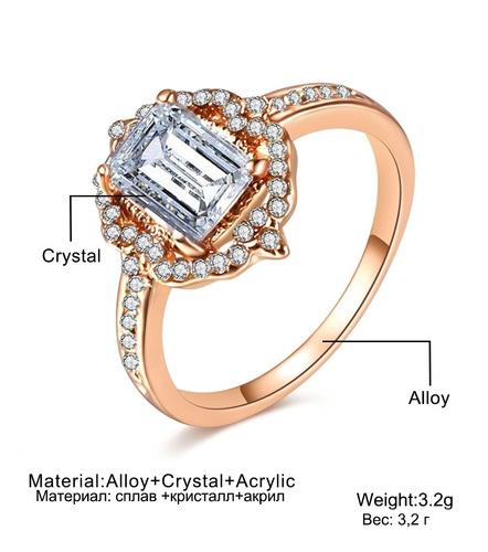 alianza moda para dama cuadrado talla anillo 6 rosa
