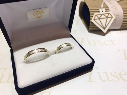 alianzas cintas en plata y bordes en oro 10 klt. 4 mm. tuset