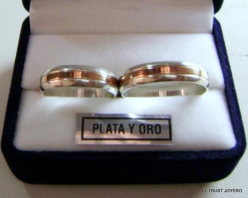 alianzas plata y oro - el par!!! grabado, estuche y garantía
