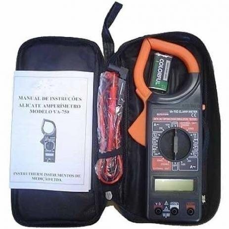alicate amperímetro digital 266 estojo ponta teste e bateria