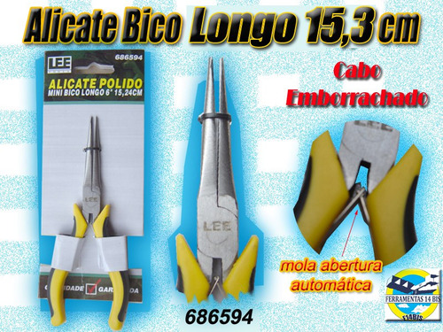 alicate bico longo 6  15,3 cm c/ mola isolado frete grátis