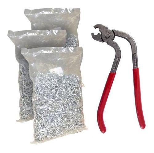 alicate tapeceiro estofador corneta + kit grampos tipo c