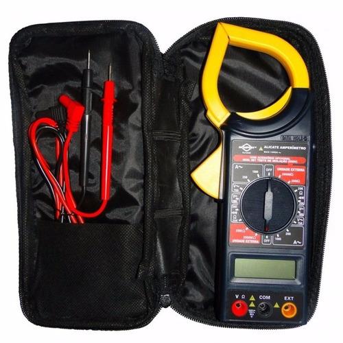 alicate teste amperímetro digital pontas de prova bateria