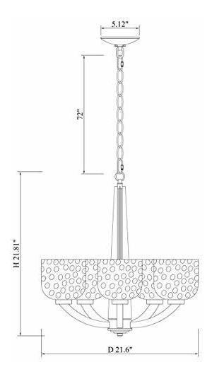 Agua Acabad Alice De 22 lámpara Vaso De 5 Techo House Grande dBxorCe