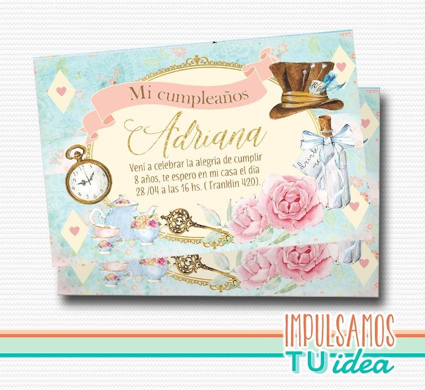 Alicia En El País De Las Maravillas Invitación Para Imprimir - $ 155 ...