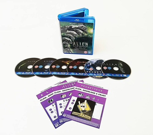 alien 6 film collection blu ray + voucher de descaraga