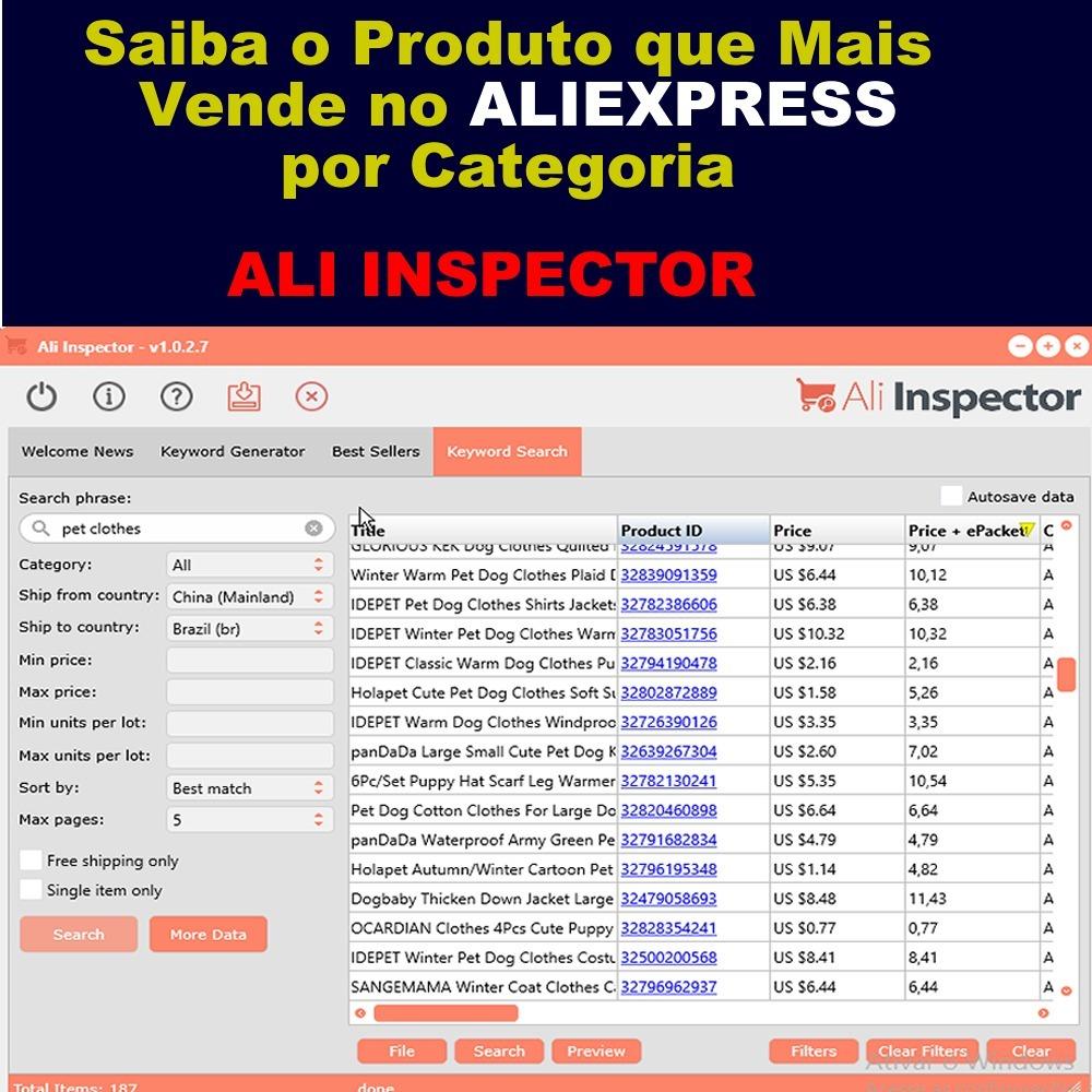 Aliexpres - Ali Inspector - Pesquisa Vende Mais No Aliexp