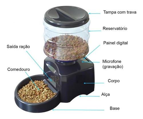 alimentador automático caes comedouro temporizado 5kg c/ voz