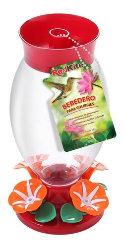 alimentador bebedero colibris con hibiscos 2 lt