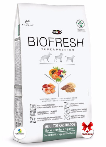 alimento biofresh castrado raza grande 7.5k +shampoo +6pagos
