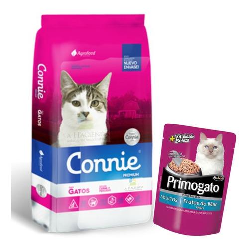 alimento connie gato 22 kg con pouch premium 85 grs