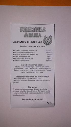 alimento d chinchilla 5 kilos peletizado premium barratisimo