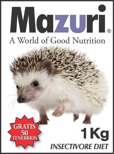alimento mazuri erizo 1kg+50 tenebrios gratis y envio gratis