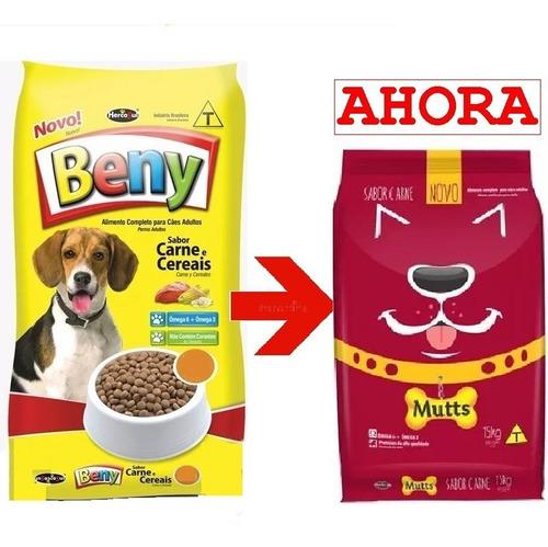 alimento mutts (ex-beny) adulto 30kg (15 kg+15kg ) y pate