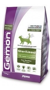 alimento para gato - gemon sterilized turkey